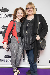 © Licensed to London News Pictures . 30/08/2017 . Salford , UK . Annie Wallace (r) . Purple carpet photos of celebrities, actors and invited guests arriving for the press night of the musical comedy , Addams Family , at the Lowry Theatre . Photo credit : Joel Goodman/LNP