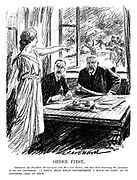 "Order First. Germany (to President Hindenburg and Herr Von Papen, who have been discussing the formation of the new government). ""I don't mind what government I have so long as it governs - and at once."" (an Interwar cartoon shows Germania pointing outside of Hindenburg's office as rioting and chaos ensues)"