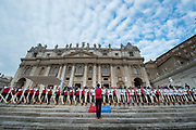 VATICAN CITY, ITALY 27 SEPT 2017; A group of horn players greet Pope Francis atthe General Audience in St. Peters Square on Sept. 27, 2017