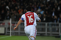 Football - Champions League - Ajax vs. Auxerre. Luis Suarez celebrates his goal.