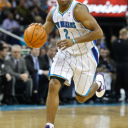 February 7, 2011; New Orleans, LA, USA; New Orleans Hornets point guard Jarrett Jack (2) against the Minnesota Timberwolves during the second quarter at the New Orleans Arena.   Mandatory Credit: Derick E. Hingle