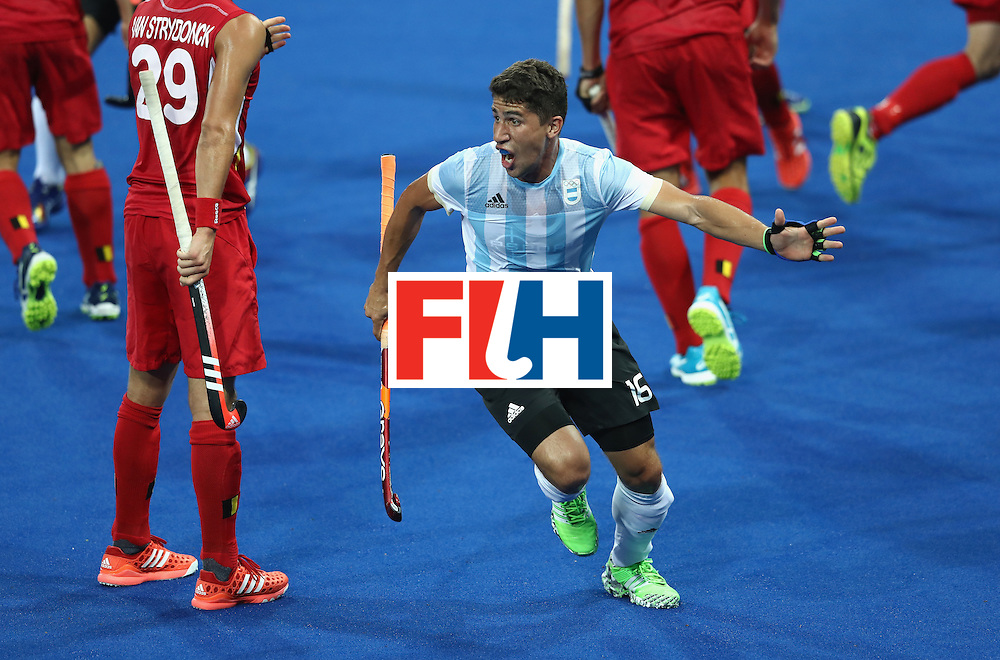 RIO DE JANEIRO, BRAZIL - AUGUST 18:  Ignacio Ortiz of Argentina celebrates after scoring their secod goal during the Men's Gold Medal match between Argentina and Belgium on Day 13 of the Rio 2016 Olympic Games held at the Olympic Hockey Centre on August 18, 2016 in Rio de Janeiro, Brazil.  (Photo by David Rogers/Getty Images)