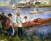 Rameurs a Chatou' (Rowers at Chatou), 1879. Oil on canvas.  Pierre-Auguste Renoir (1841-1919) French painter. Landscape Water River  Riverbank Rowing Boat  Skiff