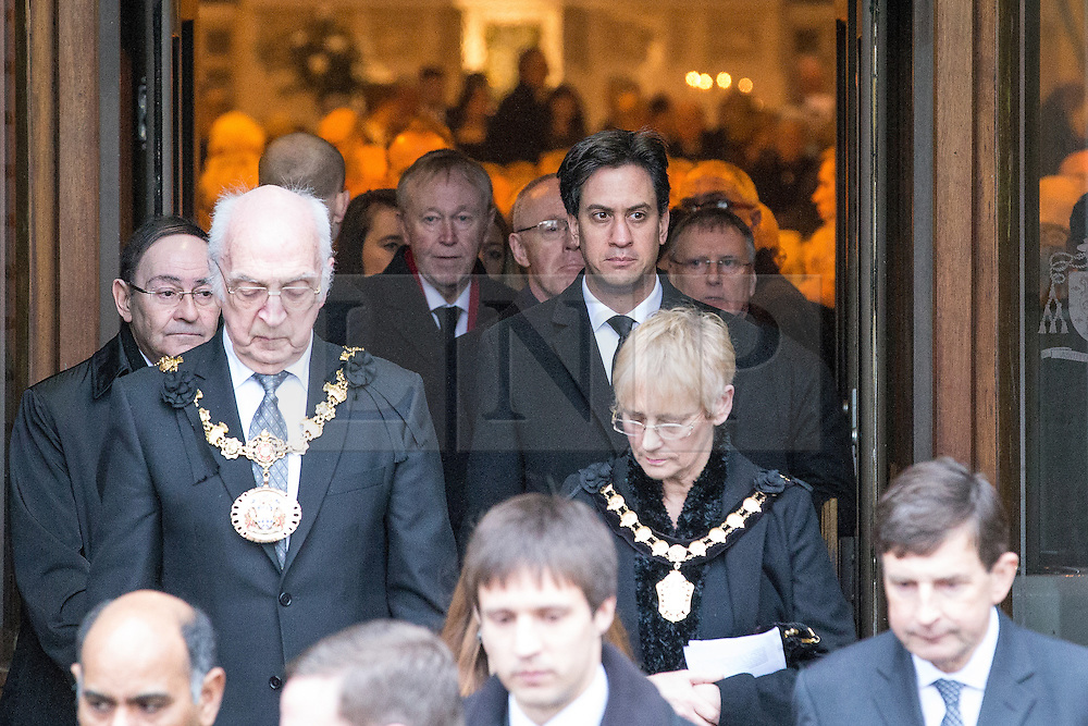 © Licensed to London News Pictures . 16/01/2014 . Salford , UK . ED MILIBAND MP , the leader of the Labour Party and MP for Doncaster North , leaves the service . The funeral of Labour MP Paul Goggins at Salford Cathedral today (Thursday 16th January 2014) . The MP for Wythenshawe and Sale East died aged 60 on 7th January 2014 after collapsing whilst out running on 30th December 2013 . Photo credit : Joel Goodman/LNP