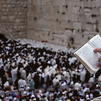 Israel, Jerusalem, Crowds pray at Western Wall during celebration of Passover on spring morning