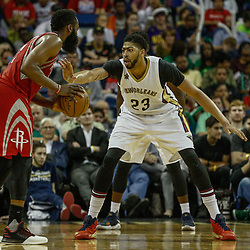Mar 17, 2017; New Orleans, LA, USA; New Orleans Pelicans forward Anthony Davis (23) guards Houston Rockets guard James Harden (13) during the second half of a game at the Smoothie King Center. The Pelicans defeated the Rockets 128-112.  Mandatory Credit: Derick E. Hingle-USA TODAY Sports