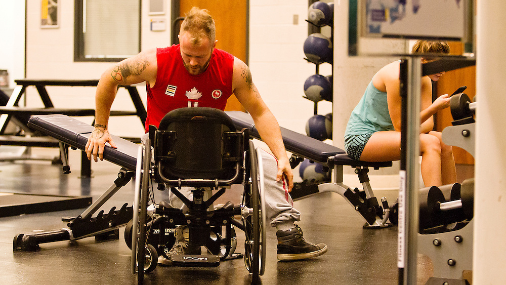 Josh Cassidy, from Guelph, Ont., during a session at Ryerson&rsquo;s Mattamy Athletic Centre.<br /> <br /> Josh inspired by wheelchair racer and Paralympian Jeff Adams. Cassidy is coming off a successful Parapan Am Games in Toronto, winning three silver medals including the 800, 1,500, and 5,000-metre events.