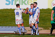 Workington Town second row Kurt Maudling (12) celebrates his try during the Ladbrokes Challenge Cup round 3 match between Hunslet Club Parkside and Workington Town at South Leeds Stadium, Leeds, United Kingdom on 24 February 2018. Picture by Simon Davies.
