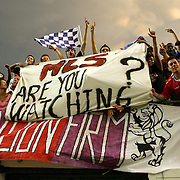 Orlando City fans hold a banner during a United Soccer League Pro soccer match between the Wilmington Hammerheads and the Orlando City Lions at the Florida Citrus Bowl on June 18, 2011 in Orlando, Florida.  (AP Photo/Alex Menendez)