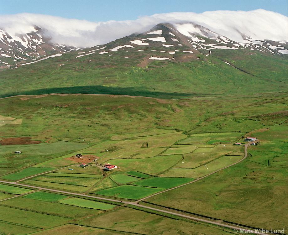 Helgustaðir og Stóra-Holt, séð til norðurs  Fljótahreppur áður Holtshreppur / Helgustadir and Stora-Holt viewing north, Fljotahreppur former Holtshreppur.