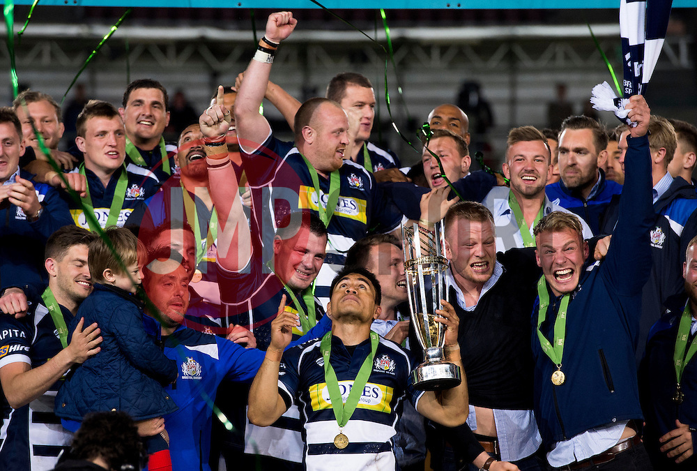 Bristol Rugby Winger David Lemi (capt) lifts the Greene King IPA Championship trophy as Bristol win promotion to the Aviva Premiership  - Mandatory byline: Joe Meredith/JMP - 25/05/2016 - RUGBY UNION - Ashton Gate Stadium - Bristol, England - Bristol Rugby v Doncaster Knights - Greene King IPA Championship Play Off FINAL 2nd Leg.