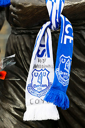 Everton scarves hang on the Memorial Statue outside Goodison Park after the passing of former Manager, Howard Kendall - Mandatory byline: Matt McNulty/JMP - 07966 386802 - 17/10/2015 - FOOTBALL - Goodison Park - Liverpool, England - Everton v Manchester United - Barclays Premier League