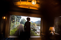 A view from a bedroom suite aboard the Seven Stars Kyushu luxury train in Japan.