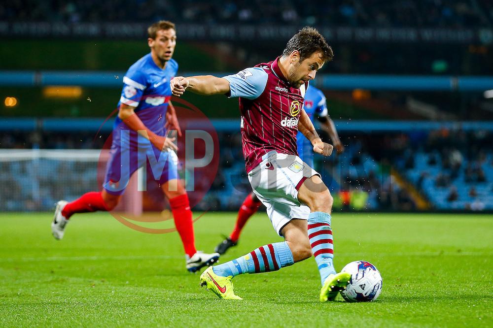 Joe Cole of Aston Villa shoots - Photo mandatory by-line: Rogan Thomson/JMP - 07966 386802 - 27/08/2014 - SPORT - FOOTBALL - Villa Park, Birmingham - Aston Villa v Leyton Orient - Capital One Cup Round 2.