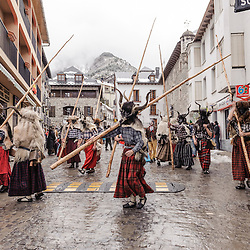 Group of Trangas wandering the streets. Carnival of Bielsa, Huesca, Spain