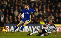 Photo: Daniel Hambury.<br />Fulham v Tottenham Hotspurs. Barclays Premiership. 31/01/2006.<br />Fulham's Sylvain Legwinski fouls Tottenham's Robbie Keane.