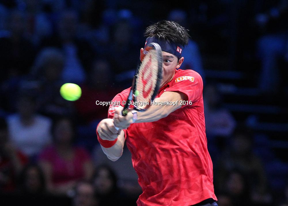 KEI NISHIKORI (JPN), ATP World Tour Finals, O2 Arena, London, England.<br /> <br /> Tennis - ATP World Tour Finals 2016 - ATP -  O2 Arena - London -  - Great Britain  - 14 November 2016. <br /> &copy; Juergen Hasenkopf/Grieves