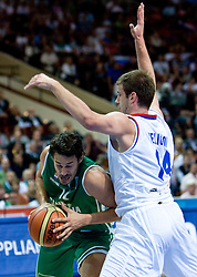 Jurica Golemac (14) of Slovenia vs Novica Velickovic of Serbia during the EuroBasket 2009 Semi-final match between Slovenia and Serbia, on September 19, 2009, in Arena Spodek, Katowice, Poland. Serbia won after overtime 96:92.  (Photo by Vid Ponikvar / Sportida)