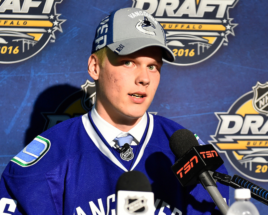 Olli Juolevi of the London Knights was selected by the Vancouver Canucks in the first round of the 2016 NHL Entry Draft in Buffalo, NY on Friday June 24, 2016. Photo by Aaron Bell/CHL Images
