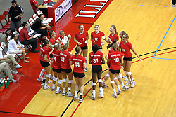 29 AUG 2009: Redbirds getting ready for the announcement of the starting line up gather in a circle all carrying fan give-away t-shirts miniature volleyballs they plan to throw into the crowd. and  The Redbirds of Illinois State were defeated by the Golden Eagles of Oral Roberts in 4 sets during play in the Redbird Classic on Doug Collins Court inside Redbird Arena in Normal Illinois