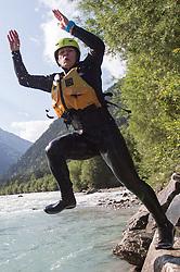 14.07.2015, Ainet, AUT, Eishockey Cracks bei Raftingtour auf der Isel, im Bild Skirennläuferin Edit Miklos (HUN) // Hockey Cracks during a rafting tour on the East Tyrolean glacial river Isel. Ainet, Austria on 2015/07/14. EXPA Pictures © 2015, PhotoCredit: EXPA/ Johann Groder