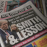 Top:<br /> New York Post headline &quot;Don's half-cocked idea Pay to arm teachers SMITH &amp; LESSON Ralph Peters: Dan assault rifles istead&quot;<br /> <br /> Bottom:<br /> Daily News headline &quot;Teachers Bash Trump's call to Arms.  We are here to teach life, not take one&quot;  Plus Student survivor gets death threats&quot;