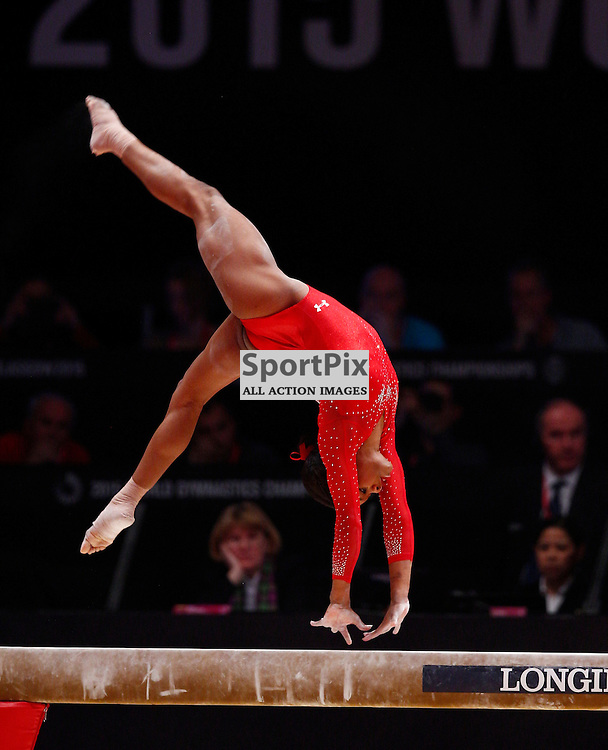 2015 Artistic Gymnastics World Championships being held in Glasgow from 23rd October to 1st November 2015.....Gabrielle Douglas (USA) performs on the Balance Beam in the Women's All-Round Final...(c) STEPHEN LAWSON | SportPix.org.uk