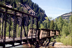 Railroad trestle in mountains