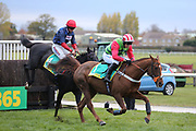 DEFINITLY RED (1) ridden by Danny Cook and trained by Brian Ellison winning The Class 1 bet365 Charlie Hall Steeple Chase over 3m (£100,000) during the Bet365 Meeting at Wetherby Racecourse, Wetherby, United Kingdom on 3 November 2018. Picture by Mick Atkins.