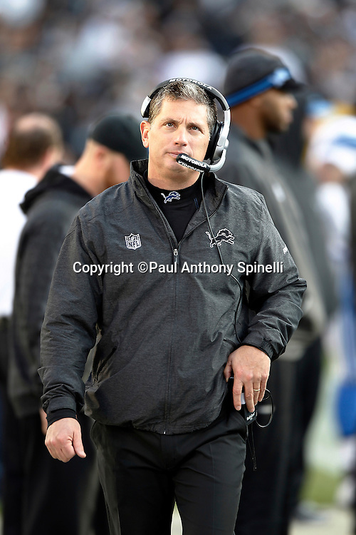 Detroit Lions head coach Jim Schwartz looks on during the NFL week 15 football game against the Oakland Raiders on Sunday, December 18, 2011 in Oakland, California. The Lions won the game 28-27. ©Paul Anthony Spinelli