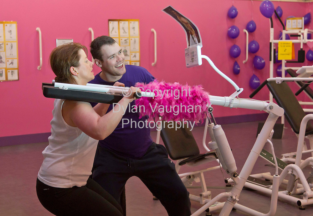 6/3/2012 .Eimear Ni Bhranaoin pictured working out at Curves in Kilkenny..Also in the picture is John Glen Corcoran..Picture Dylan Vaughan.