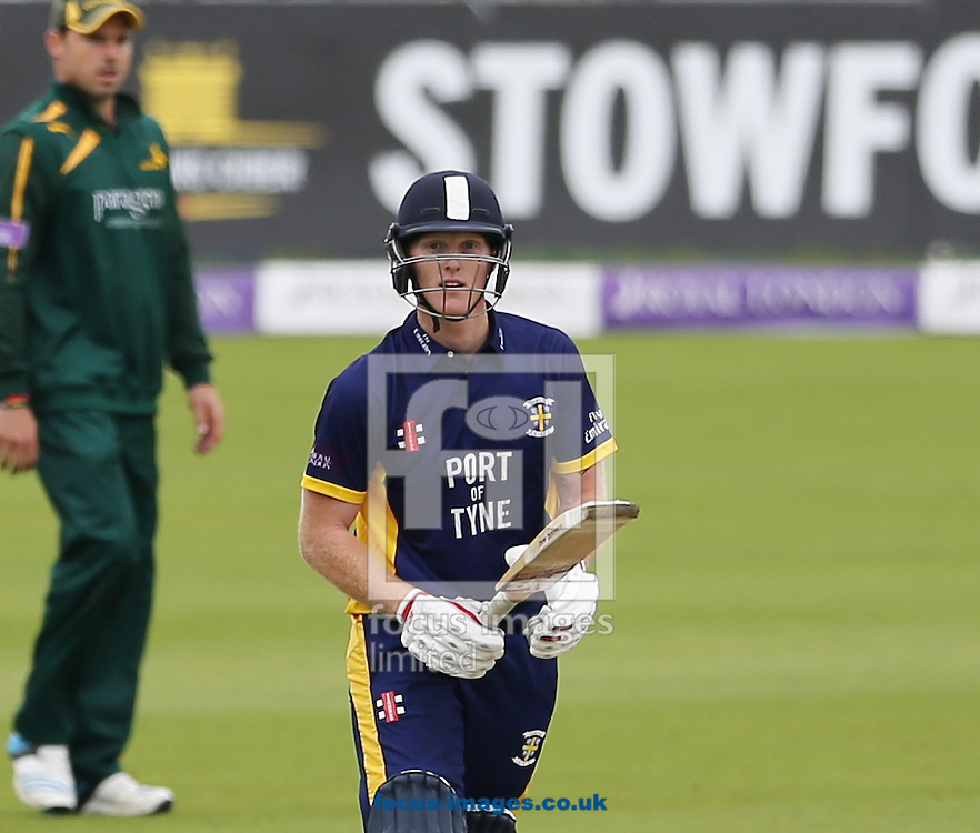 Ben Stokes of Durham County Cricket Club acknowledges the crowd after hitting a century during the Royal London One Day Cup match at Emirates Durham ICG, Chester-le-Street<br /> Picture by Simon Moore/Focus Images Ltd 07807 671782<br /> 06/09/2014