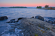Dawn on shore of Lake of The Woods<br />Sioux Narrows Provincial Park<br />Ontario<br />Canada