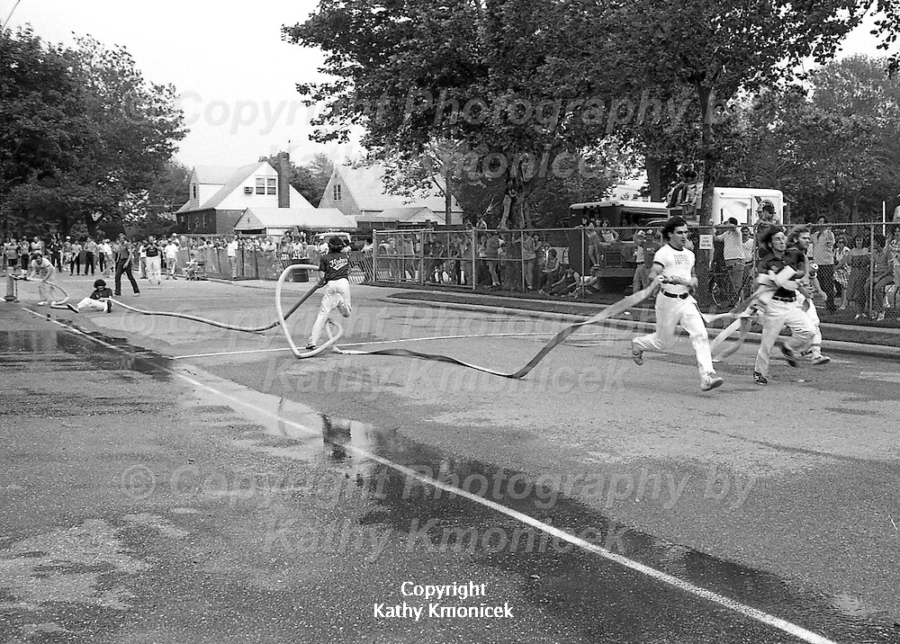 The Hempstead Fire Department Flukes Racing Team in action at a tournament in Franklin Square in 1981.