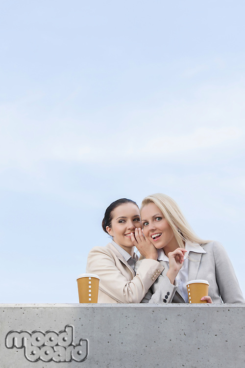 Low angle view of happy businesswoman whispering in coworker's ear while standing on terrace against sky