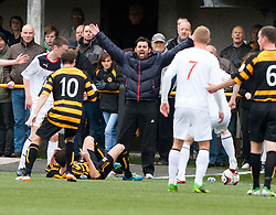 Alloa Athletic's manager Paul Hartley cries fro a foul.<br /> Half time : Alloa Athletic 0 v 0 Falkirk, Scottish Championship 12/10/2013. played at Recreation Park, Alloa.<br /> &copy;Michael Schofield.
