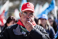 Potenza, Basilicata, Italia, 09/04/2016<br /> La marcia per il lavoro 2016, che si &egrave; svolta a Potenza. Il corteo unitario delle tre sigle sindacali per chiedere maggiore occupazione per i giovani e pi&ugrave; diritti per i pensionati. In Basilicata, il tasso di disoccupazione giovanile &egrave; superiore al 40%<br /> <br /> Potenza, Basilicata, Italy, 09/04/2016<br /> The &quot;March for Work&quot; 2016 that took place in Potenza. The unit parade of the three unions of Italy demanded mode jobs for young people and more rights for pensioners. In Basilicata region the youth unemployment rate is more than 40%
