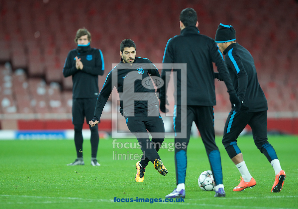 Luis Suarez during the Barcelona training session at the Emirates Stadium, prior to their Champions League match against Arsenal tomorrow. London, England.<br /> Picture by Alan Stanford/Focus Images Ltd +44 7915 056117<br /> 22/02/2016