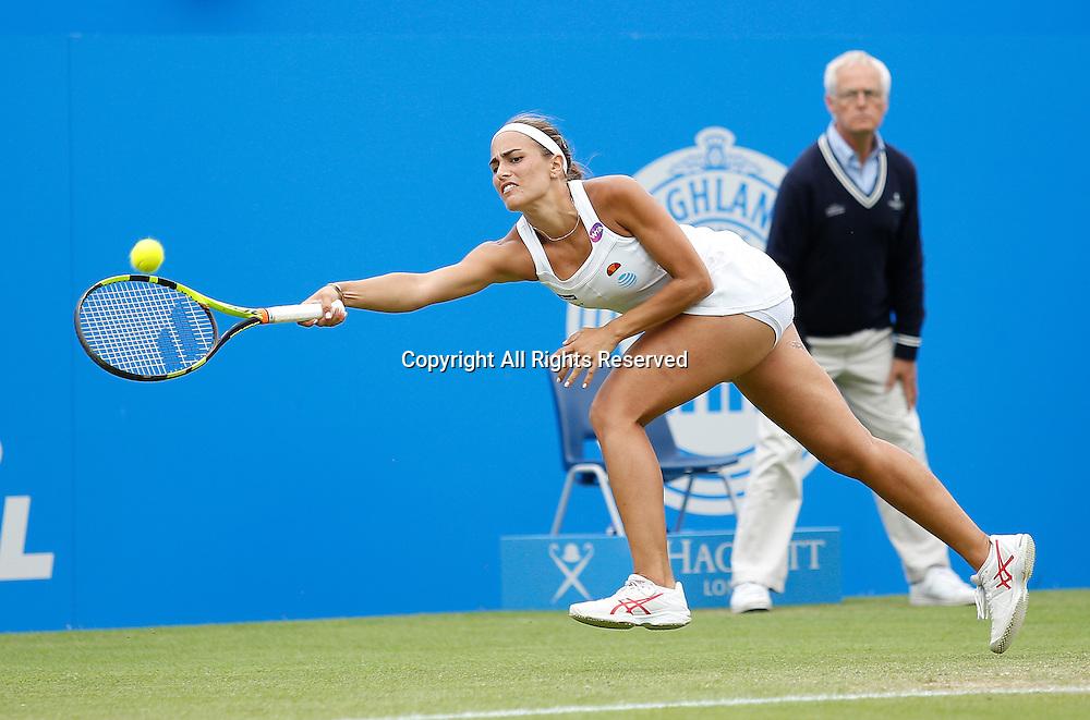 23.06.2016 Eastbourne, England. Aegon International Eastbourne Tennis Tournament Monica Puig (PUR) defeats Kristina Mladenovic (FRA)  by a score 7-6(6), 4-6, 6-3 in their Quarterfinals match at Devonshire Park.