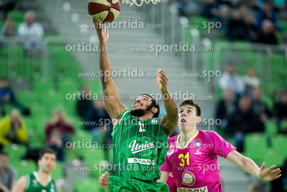 Brandon Jefferson #13 of KK Union Olimpija vs Vlatko Cancar of Mega Leks during basketball match between KK Union Olimpija Ljubljana and KK mega Leks in 14th Round of ABA League 2016/17, on December 18, 2016 in Arena Stozice, Ljubljana, Slovenia. Photo by Vid Ponikvar / Sportida