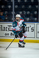 KELOWNA, CANADA - MARCH 13: Steel Quiring #18 of the Kelowna Rockets warms up against the Spokane Chiefs  on March 13, 2019 at Prospera Place in Kelowna, British Columbia, Canada.  (Photo by Marissa Baecker/Shoot the Breeze)