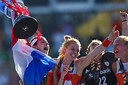 The Netherlands celebrate and lift the trophy during the Vitality Hockey Women's World Cup 2018 Finals Gold Medal match between the Netherlands and Ireland, at the Lee Valley Hockey and Tennis Centre, QE Olympic Park, United Kingdom on 5 August 2018. Picture by Martin Cole.