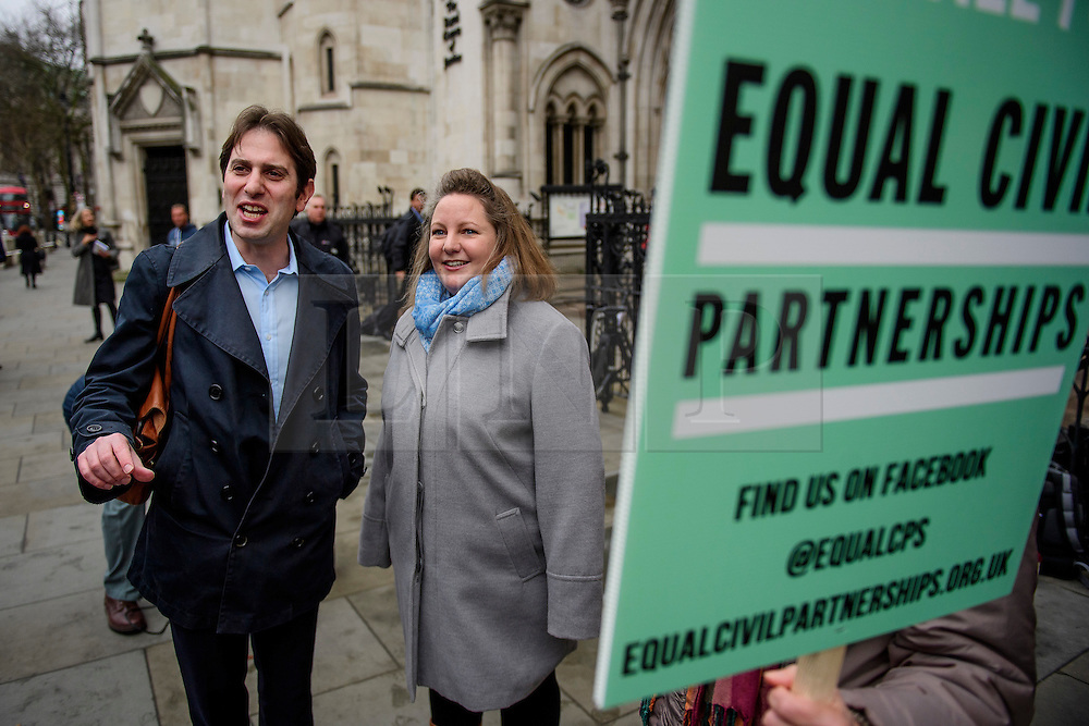 © Licensed to London News Pictures. 21/02/2017. London, UK. Heterosexual couple REBECCA STEINFELD and CHARLES KEIDAN arrive at Royal Courts of Justice in London, where a Court of Appeal ruling is due on whether a heterosexual couple can have a civil partnership. Photo credit: Ben Cawthra/LNP