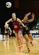 Tactix goal defense Zoe Walker and Magic goal attack Amorangi Malesala clash during the ANZ Premiership netball match - Magic v 170529 ANZ Premiership - Magic v Tactix played at Claudelands Arena, Hamilton, New Zealand on Monday 29 May 2017. Copyright photo: Bruce Lim / www.photosport.nz