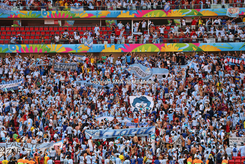 Argentina fans congregate from all four sides of the stadium to sing and celebrate reaching the Semi Final