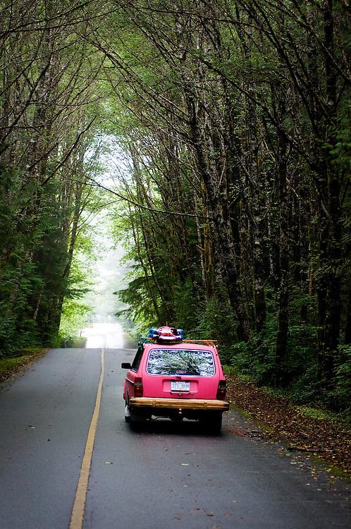 Surf wagon on the road to Radar Hill in Tofino, British Columbia.