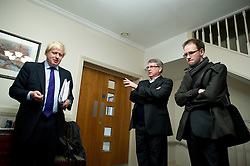 London Mayor Boris Johnson (blonde Hair)with his campaign team prepares for a Mayoral debate with the other Mayoral Candidates moments before going on stage, London, Wednesday April 11, 2012. Photo By Andrew Parsons/i-Images