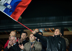 Rudi Zavrl, former president of NZS, Radenko Mijatovic, vice president of NZS, Borut Pahor, president of Slovenia  ahead to the football match between National teams of Slovenia and England in Round #3 of FIFA World Cup Russia 2018 Qualifier Group F, on October 11, 2016 in SRC Stozice, Ljubljana, Slovenia. Photo by Vid Ponikvar / Sportida