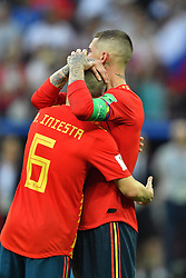 Andres Iniesta and Sergio Ramos dejected after being eliminated of the 2018 FIFA World Cup by the Russia in Moscow, Russia on July 1st, 2018. Photo by Lionel Hahn/ABACAPRESS.COM