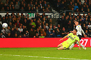 Derby County forward Tom Lawrence (10) shoots at goal during the EFL Sky Bet Championship match between Derby County and Sheffield United at the Pride Park, Derby, England on 20 October 2018.